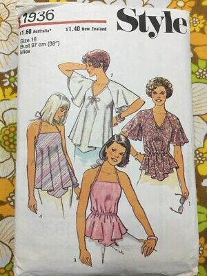 Style 1977 womens set of boho tops size 16 vintage sewing pattern