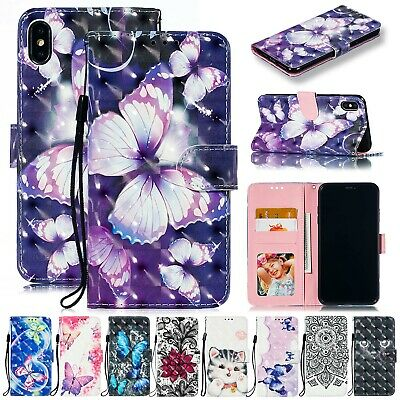 For iPhone 8 Plus Case 7 6s 3D Pattern Magnetic Flip Leather Wallet Stand Cover