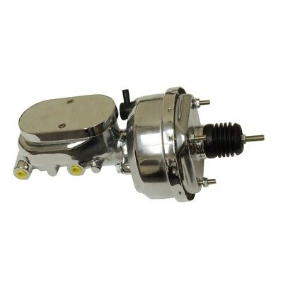 "7"" Street Rod Single Power Brake Booster W/ Smooth Top Master Cylinder Chrome US"