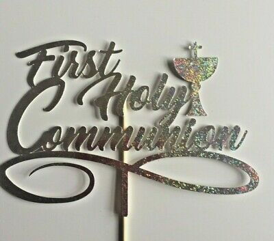Cake Topper First Holy Communion Glitter Silver Holographic Card FREE UK P&P