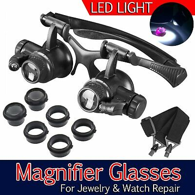 25X Magnifying Magnifier Eye Glass Loupe Jeweller Watch Repair with LED Light UK