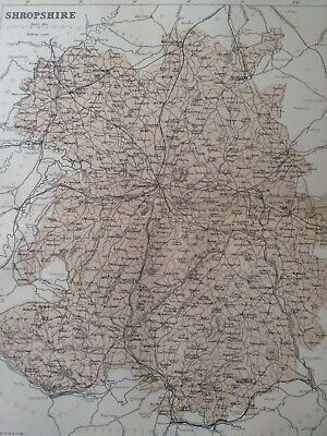1868 Shropshire Original Antique Map UK England Vintage Old County Somerset