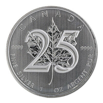 2013 Silver Canadian Maple Leaf - 25th Anniversary - Brilliant Uncirculated