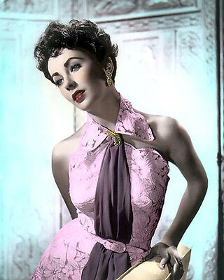 """Elizabeth Taylor Hollywood Movie Star Actress 8X10"""" Hand Color Tinted Photo"""