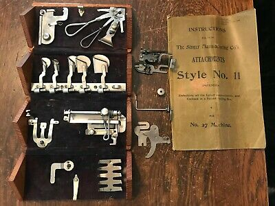 Antique Singer Puzzle Box Style #11 Attachments No. 27 Sewing Machine + Manual