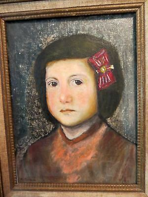 Vintage Oil on Canvas Portrait Painting GIRL WITH RED BOW Signed