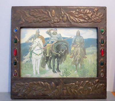 1900s Arts & Crafts JEWELED WOOD COPPER PICTURE FRAME Oak Leaves Acorn Cabochons