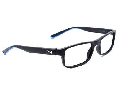 fd839ed93227 Nike Men's Eyeglasses 7090 018 Live Free Black Blue Rectangular Frame 53[]17  140