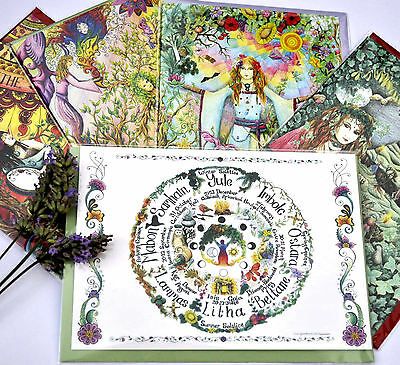Altar Art items Wheel of The Year card set, solstices, equinoxes, Pagan Wiccan