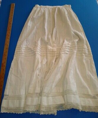 Edwardian Ivory White Tea Antique Skirt Lace & Eyelet Victorian Vintage