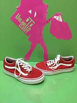 7b459a806e VANS Classic Old Skool Red Canvas Lace Up Skate Shoes Men s Size 4 Women s  5.5
