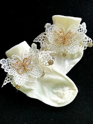 First Holy Communion Confirmation-Lace Ankle Socks-Diamante Rhinestone Cross