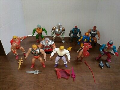 Vintage He-man Masters of the Universe 80s lot of 11 w/ armor Weapons good guys