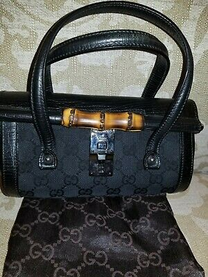 58bb7f8be4bc GUCCI TOM FORD Black Canvas Leather Monogram Bamboo Mini Bullet Purs  Satchel Bag