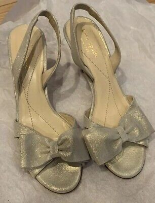 11bc5c44acab9 Kate Spade Silver Leather Metallic Bow Slingback Kitten Heels Shoes NEW!  $295