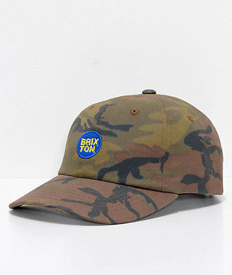 cc67cc86 NEW BRIXTON WHEELER Olive Camo Dad Relax Fit Strapback Cap Hat ...