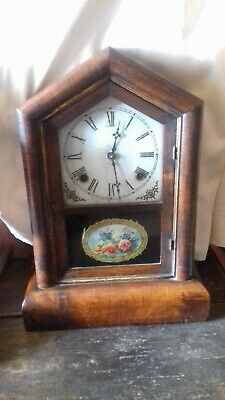 Antique. American.  'Gilbert'  8 Day cottage clock