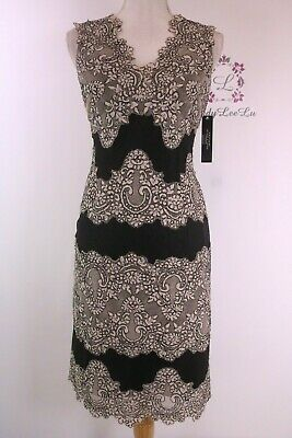 1f8e7f49776 Tahari by ASL Scalloped Lace Stripe Sheath Dress Beige Black 8120M037 Size  8 NWT