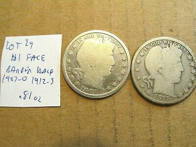 $1 Face~90% Silver~Barber Half~1907-o and 1912-s~Free Shipping~.81 oz~Lot 29!