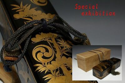 Japan Antique Edo Gold Makie box case Busho sword koshirae Yoroi Crest samurai 巴