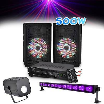 Pack sono 2 Enceintes 2x250W + Table de mixage USB/BT + Ampli + Mic + Barre UV +