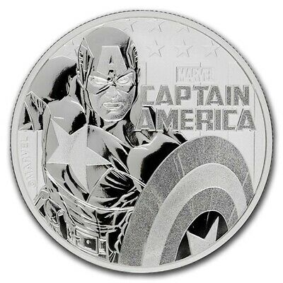 2019 Tuvalu Marvel Series Captain America 1 oz Silver Capsuled BU Coin