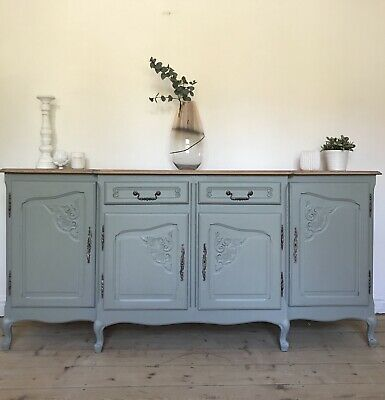 Large French louis XV Oak Sideboard Painted Duck Egg Green