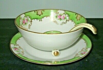 Antique Floral Nippon Bowl Spoon Plate Serving Set Hand Painted