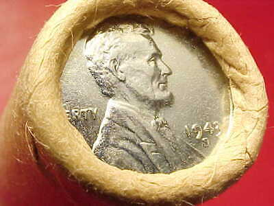 Mercury Dime Reverse / 1943-S Ends Original Bank Wrapped Roll Lincoln Wheat