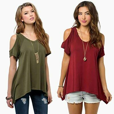 Womens Tops Short Sleeve T Shirt Basic Tee Off Shoulder Loose Summer Plus Size