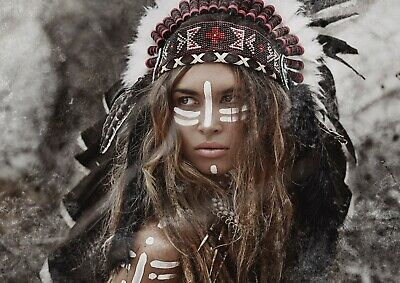 A1 | Native American Indian Poster Art Print 60 x 90cm 180gsm Tribe Gift #12569