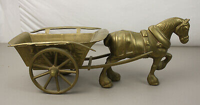 """Vintage Cast Bronze Or Brass Metal Clydesdale Pulling A cart Statue Figurine 16"""""""