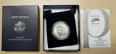 2006 W $100 Platinum Burnished American Eagle 1 Oz Coin with Box and COA
