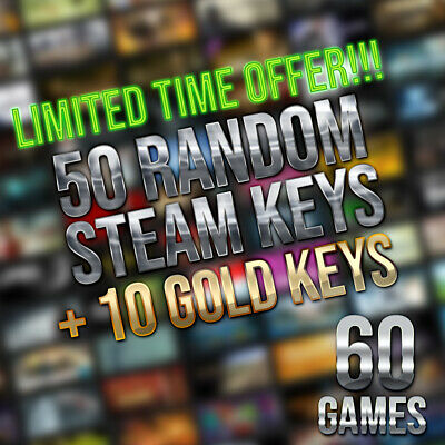 50x Random Steam Keys + 10 GOLD Keys | Value up to $150* | Fast Delivery!**