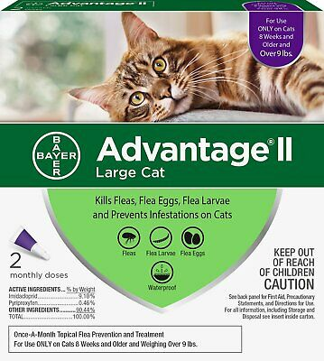 Bayer Advantage II FLEA TREATMENT For LARGE CATS Over 9 Lbs 6 Months Doses NIB