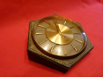 RARE 1960's JAEGER LECOULTRE 8 DAY LEATHER CLAD DESK CLOCK.GOOD WORKING ORDER.