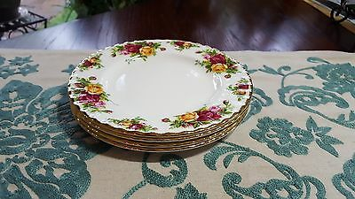 """Royal Albert Old Country Roses Set Of Four (4) Dessert/salad 8"""" Plates New"""