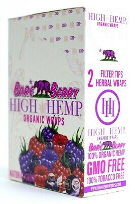 High Hemp Bare Berry Organic Wraps Full Box 25 (2 Wrap) Pouch (50 Wraps) NON GMO