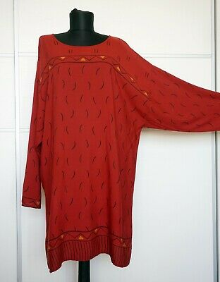 GUDRUN SJODEN Red Ochre Geometric Print Dress, Size:L/XL