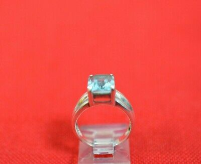 Vintage Sterling Silver Blue Topaz Ring Art Deco Style Size 6.25 Signed CNA #900