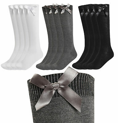 3 Pack Girls Knee High School Socks With Bows Long  Cotton Rich Party Socks Bow