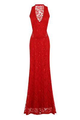 b8855483d Red Lace Sequin Embellished Halterneck Maxi Evening Party Prom Gown Dress  Sz 8
