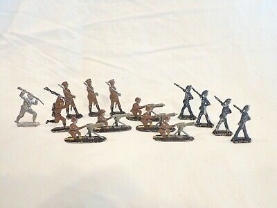 Vintage WWI  14 Painted Flat Lead Tin Toy Soldiers