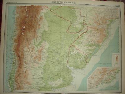 1920 LARGE MAP ~ ARGENTINA CHILI etc ~ 23 INCHES x 18""