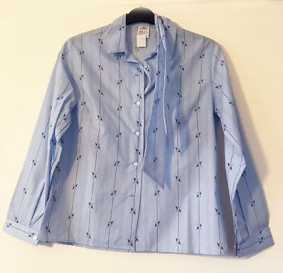 Vintage Shirt & Matching Tie - Blue with Line & Floral print Collar Size 12/14