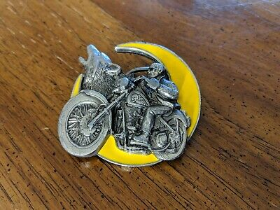 Handsome Belt Buckle 4004 1993 GAP Wolf Howling Moon Bike  MADE IN USA
