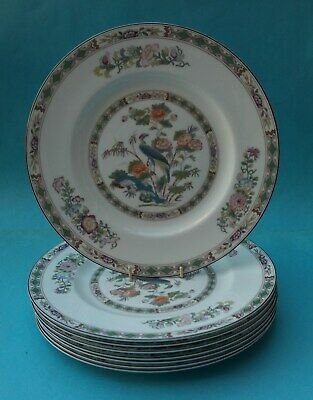 Eight Bone China Wedgwood Kutani Crane Dinner Plates