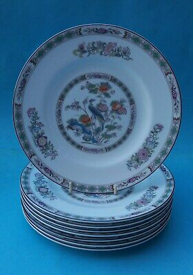 Eight Bone China Wedgwood Kutani Crane Salad Plates