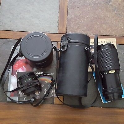 Lot Of 2 Vintage 35Mm Camera Lens Canon Vivitar Zoom Fd Wide Angle Photography