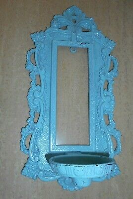 VTG Antique Cast Iron Wall Sconce Mirror Candle Rectangular Ornate Blue